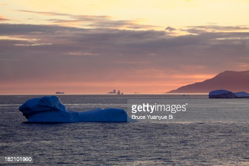 Night view of icebergs floating in Davis Strait