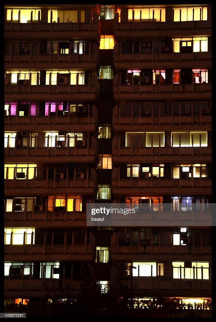 Night view of illuminated windows : Stock Photo