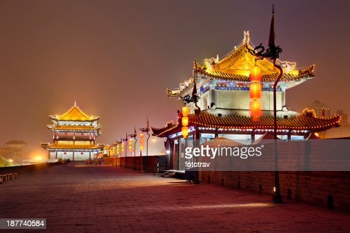 Night view of illuminated Xian City wall South gate in China