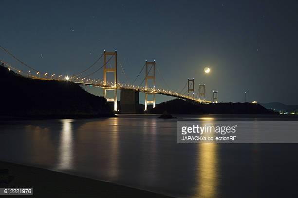 Night View of Kurushima Kaikyo Bridge of Setouchi Shimanami Kaido Expressway