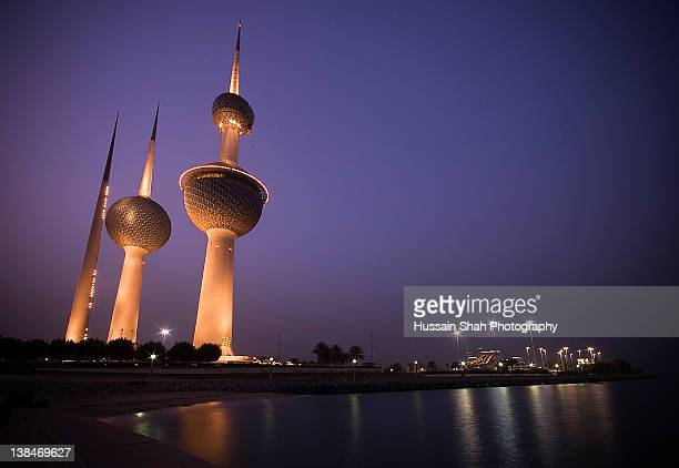 Night view of Kuwait Towers