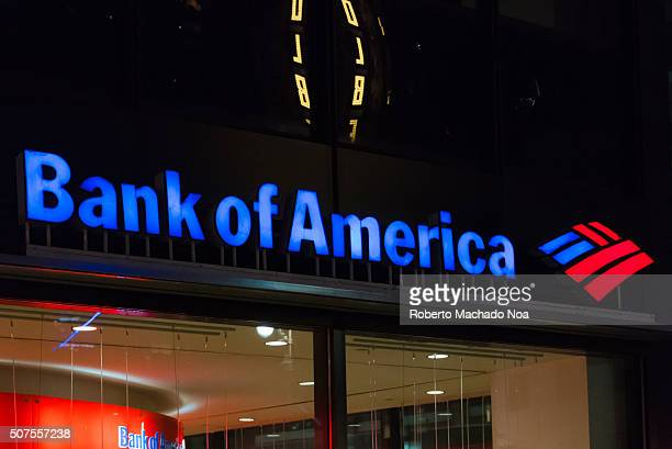 Night view of logo of the Bank of America Tower It is an American multinational banking and financial services corporation