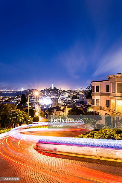 Night view of Lombard Street in San Francisco