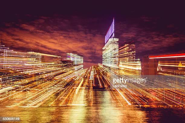 Vue de nuit de Manhattan