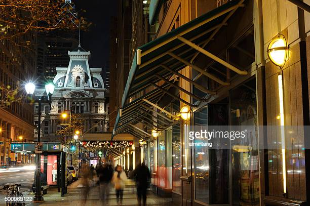 Night view of Market Street in Philadelphia