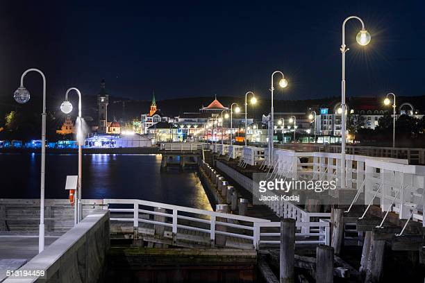 Night view of Molo pier and Sopot city in Poland