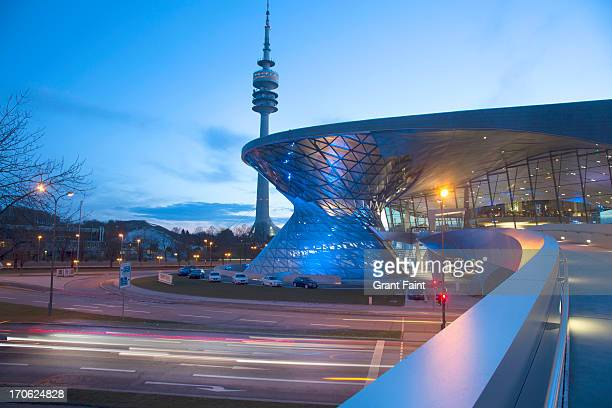 Night view of museum and TV tower