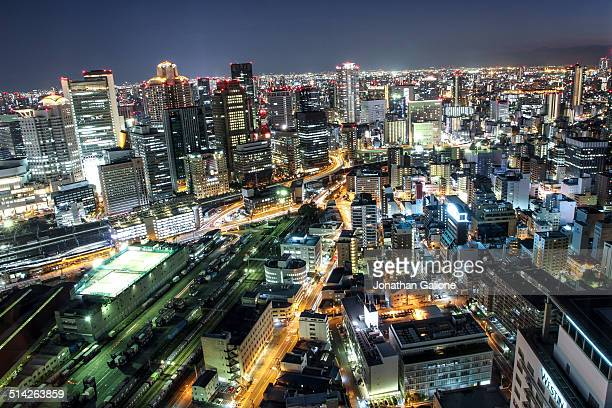 Night view of Osaka city from up high