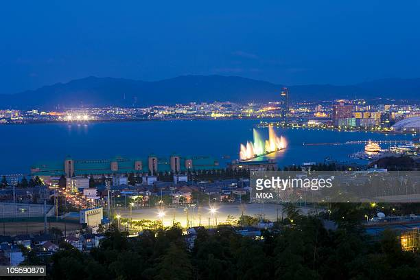 Night View of Otsu City and Lake Biwa, Otsu, Shiga, Japan
