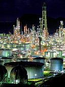 Night view of petroleum plant