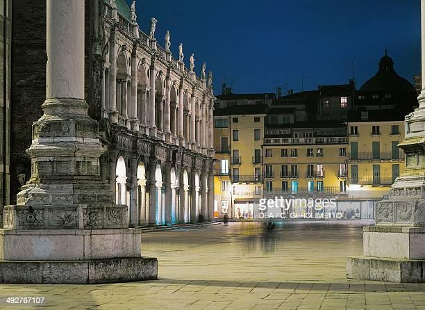 Night view of Piazza dei Signori Vicenza Veneto Italy