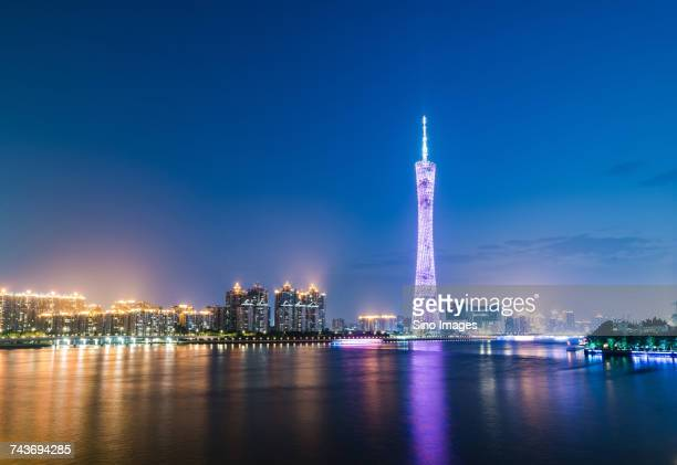 Night view of river and TV Tower in Guangzhou, Guangdong, China