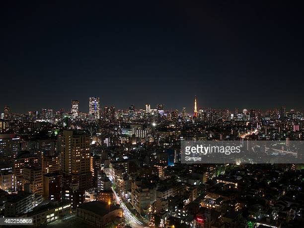 Night view of Roppongi Hills and Tokyo Tower