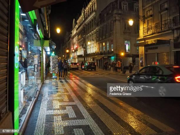 Night View Of Rua Aurea Street in Downtown Lisbon, Portugal