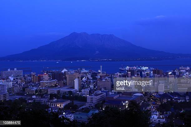 Night View of Sakurajima and Kagoshima City, Kagoshima, Kagoshima, Japan