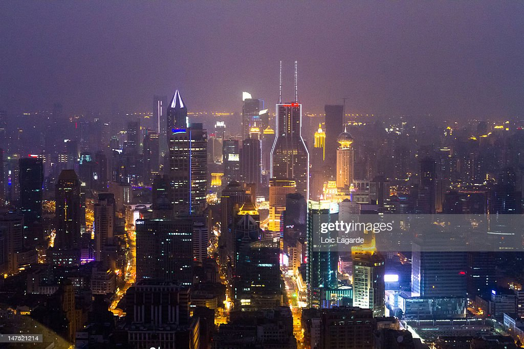 Night view of Shanghai Puxi district