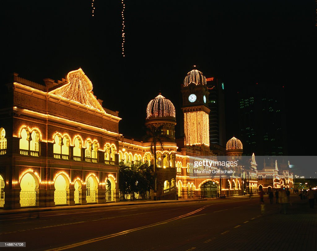 Night view of Sultan Abdul Samad Building. This typical colonial building with unique blend of Victorian and Moorish architecture was the former colonial Secretariat building.