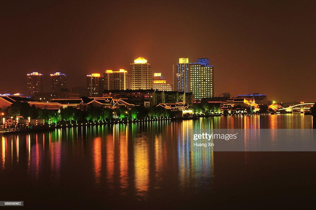 Night view of Suzhou and its Canal, China