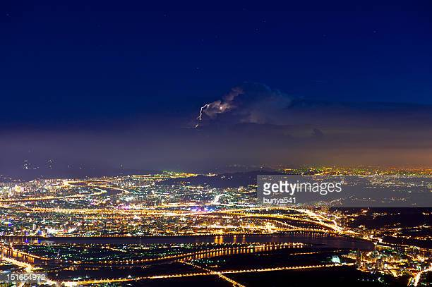 Night view of Taipei with lightning from Mt. Datun