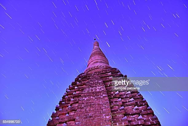 Night view of temple in Old Bagan with star trail