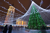 Night view of the christmas tree in Vilnius, Lithuania
