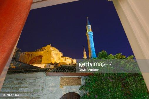 Night view of the Hagia Sophia.