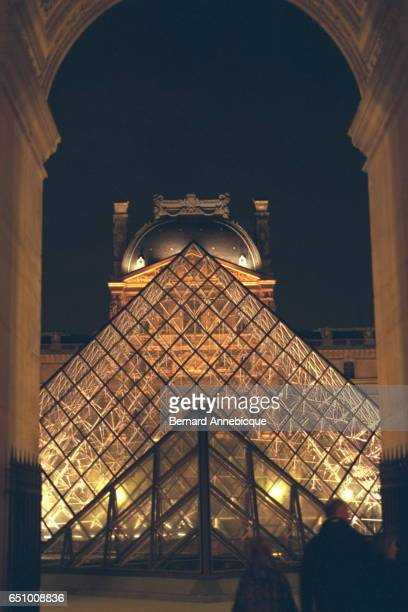 Night view of the Ieoh Ming Pei's pyramid the main entrance to the museum