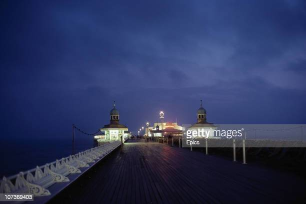 A night view of the illuminated pier in the seaside resort of Blackpool Lancashire August 1983
