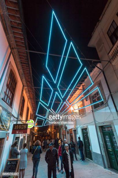 Night view of the installation 'Canopy' by Architecture Studio FAHR 0213 of Portugal on display in Rua Dr Roberto Alves on the first day of...