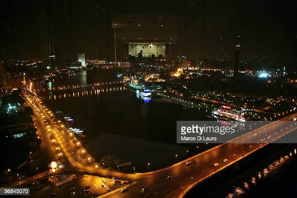CAIRO EGYPT FEBRUARY 8 A night view of the Nile River is seen from a restaurant on the top of the Ramses Hilton Hotel on February 8 2006 in Central...
