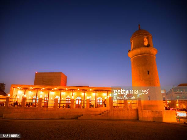 Night view of the Old Mosque at Souq Waqif, Doha, Qatar - February 3, 2017