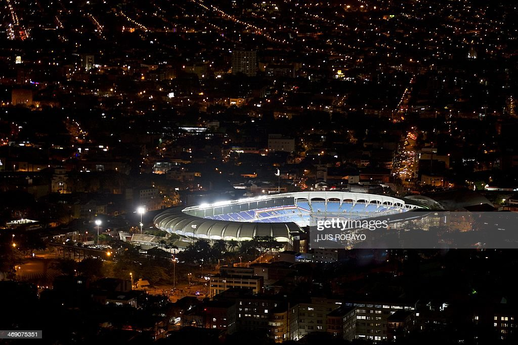 Night view of the Olimpico Pascual Guerrero stadium before the Libertadores Cup football match between Deportivo Cali of Colombia and Cerro Porteno of Paraguay in Cali, Colombia, on February 12, 2014. AFP PHOTO / LUIS ROBAYO