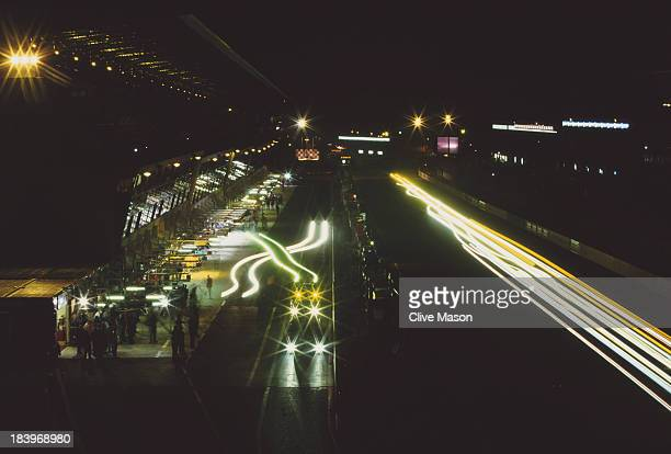 Night view of the pits and the front straight the during the FIA World Sportscar Championship 24 Hours of Le Mans race on 16th June 2002 at the...