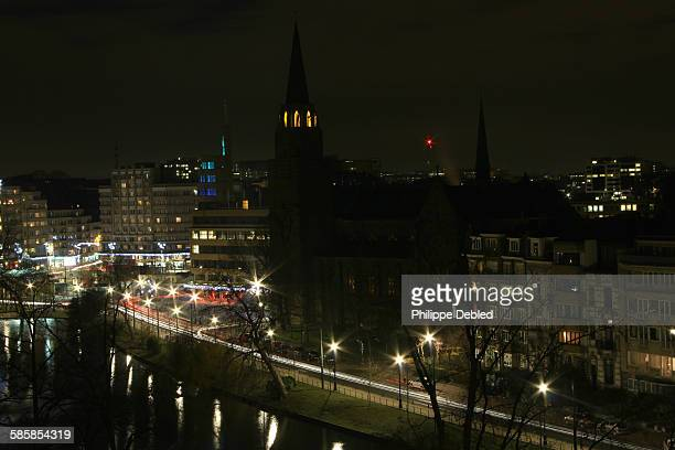 Night view of the ponds of Ixelles in Brussels