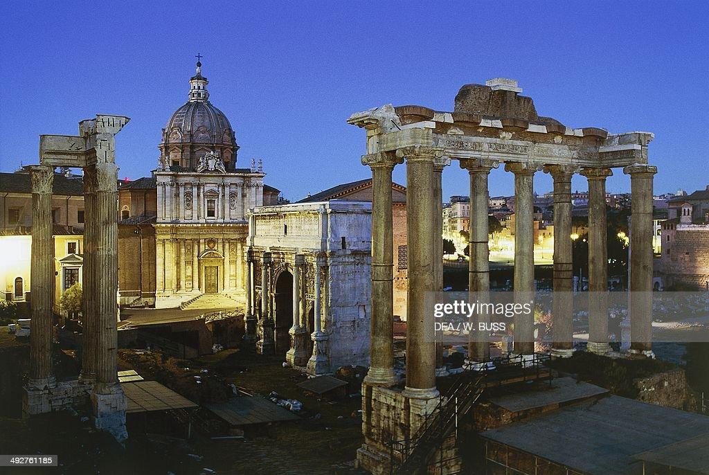 Night view of the Roman Forum Rome Lazio Italy