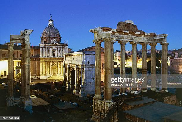 Night view of the Roman Forum Rome Lazio Italy