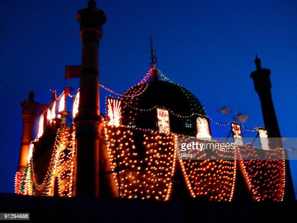 Night view of the shrine of Sekandar Bodla Bahar one of the main disciples of Lal Shahbaz Qalandar a 13th century Sufi Master September 2006 in...