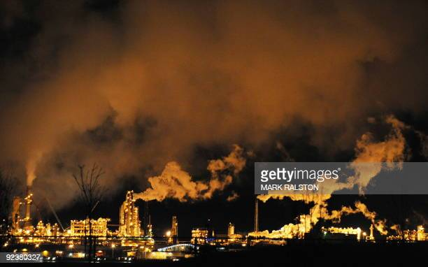 A night view of the Syncrude oil sands extraction facility near the town of Fort McMurray in Alberta Province Canada on October 22 2009 Greenpeace is...