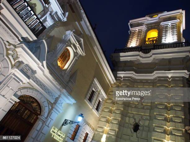Night view of the towers and facade of the church museum and monastery of San Francisco