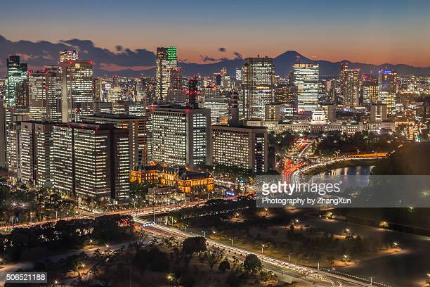 Night view of Tokyo Marunouchi aera, Japan.