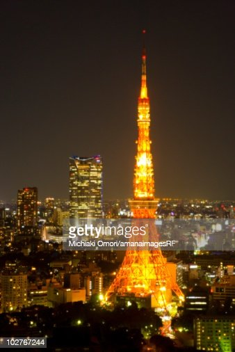 Night View Of Tokyo Tower Minato Ward Tokyo Japan Stock Photo  Getty Images