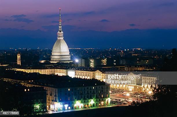 Night view of Turin the Mole Antonelliana Turin Piedmont Italy