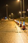Night View of UK Motorway Highway Roadworks.