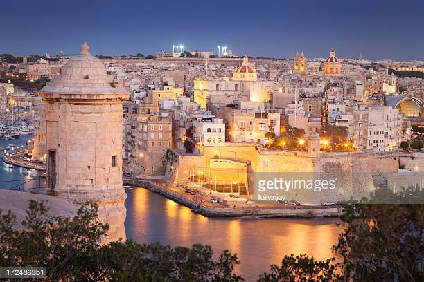 Night view of Valletta, Malta