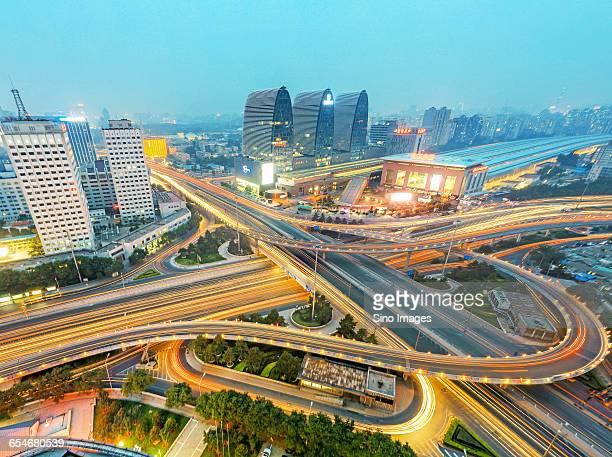 Night view of Xizhimen Beijing Overpass