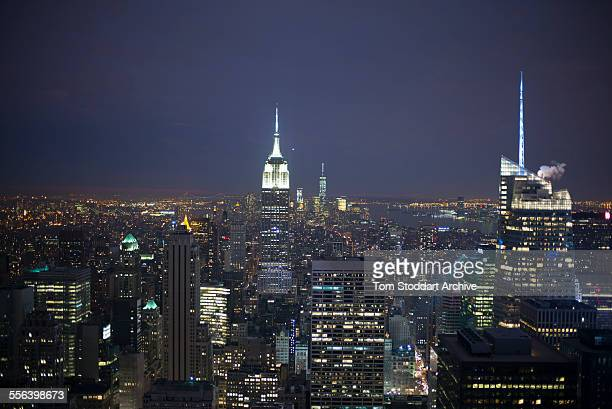 Night view over New York City photographed from the observation deck at the top of the Rockefeller Center