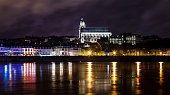 Night views to the city in Saint-Louis Cathedral of Blois