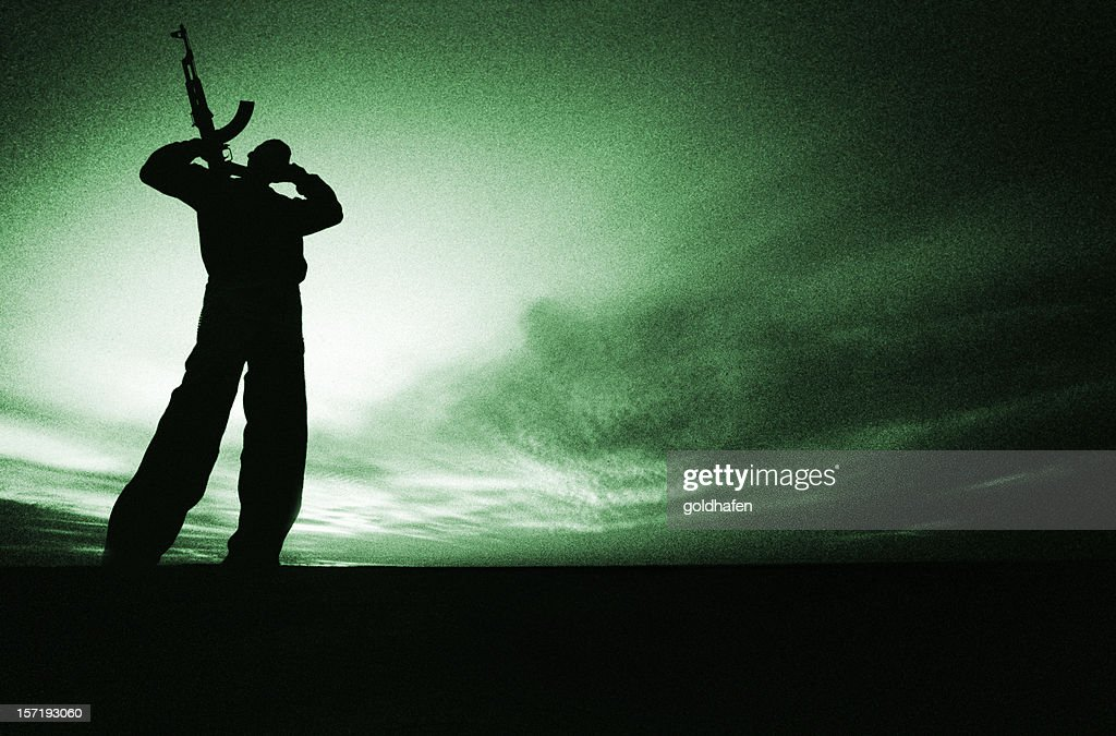 night vision | armed fighter : Stock Photo