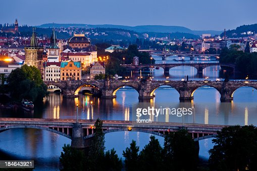 Night Vltava river view