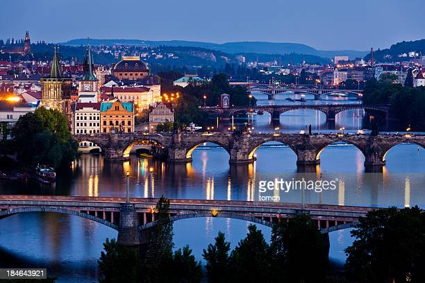 Night Vltava river view